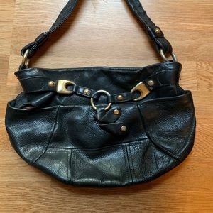 Black + Gold Leather Purse